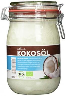 Nutriverde BIO Kokosöl - 1 x 1.000 mL (1L) Neu im Bügelglas - KOCHEN, BRATEN, BACKEN + HAAR- & HAUTPFLEGE bio, nativ, kaltgepresst - 1