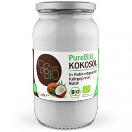 PureBIO Kokosöl 1000ml (1L) für HAARE, HAUT und zum KOCHEN - Kokosöl bio, nativ und kaltgepresst - 1