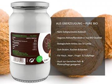 PureBIO Kokosöl 1000ml (1L) für HAARE, HAUT und zum KOCHEN - Kokosöl bio, nativ und kaltgepresst - 4